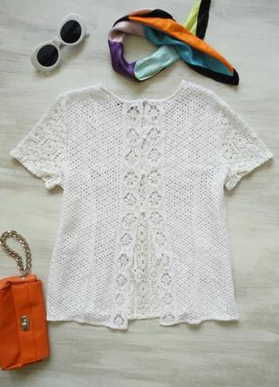 Блуза next из кружева, интересная спинка с разрезом
