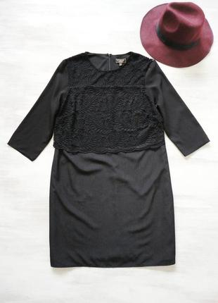 Платье lipsy нарядное чёрное, по фигуре, кружево на верхней ча...