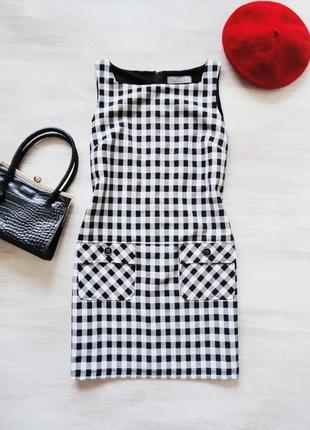 Платье сарафан dorothy perkins в черно-белую клетку, накладные...