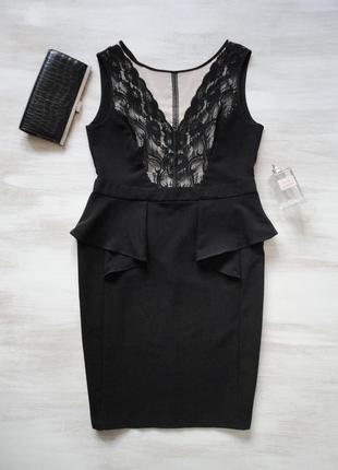 Платье dorothy perkins черное силуэтное с бежевыми вставками, ...