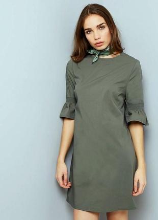 Платье new look хаки оливковый цвет, свободный силуэт, рукава ...