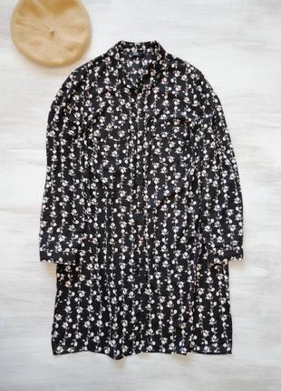Платье рубашка f&f шифоновое в мелкий контрастный цветочный пр...