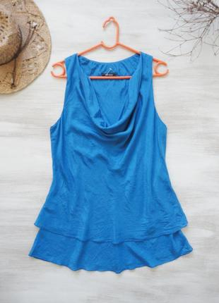 Майка из натурального шёлка, 100% шёлк, ярко-синего цвета, 2 я...