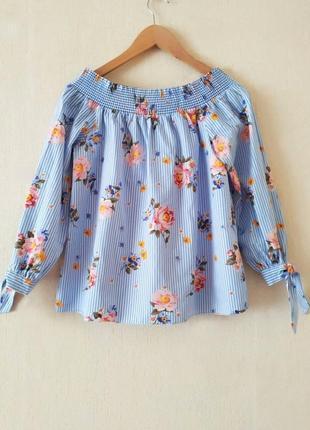 Блуза new look открытые плечи в принт полоска и цветы, 100% ко...