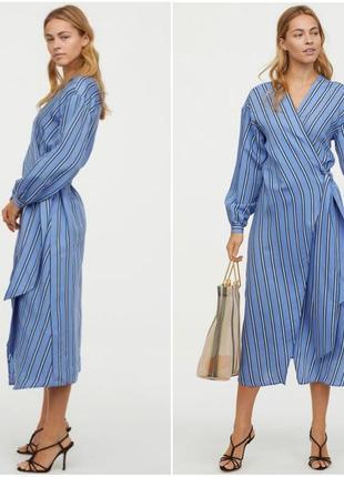 Платье h&m на запах, длинное миди, объёмные рукава, три размер...