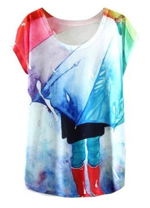 Яркая женская футболка с рисунком