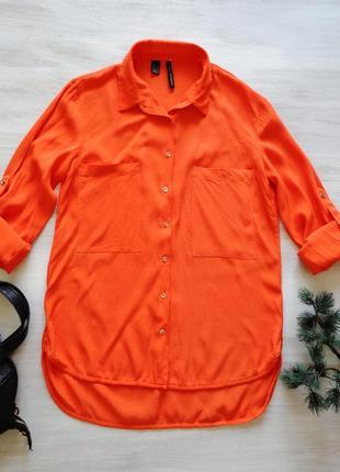 Рубашка mango яркая, рукава с подворотами, вискоза
