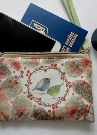 Кошелёк, косметичка, клатч птички и пёрышки