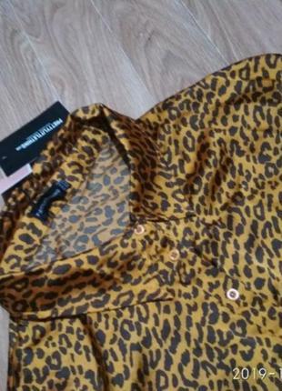 Трендовая блуза рубашка леопард очень большой размер