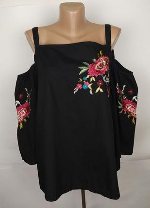 Блуза хлопковая стильная с вышивкой uk 14/42/l