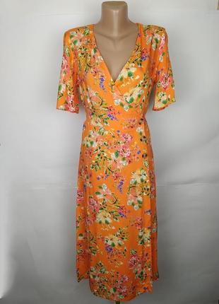 Платье натуральное стильное на запах в цветочный принт primark...