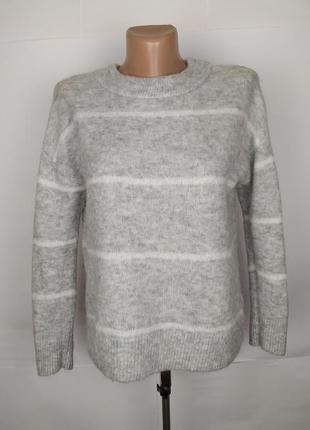 Свитер кофта мягкий серый стильный шерстяной h&m uk 10/38/s