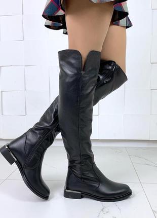 Зимние сапоги ботфорты на низком каблуке,зимние ботфорты из на...
