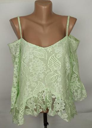 Блуза новая кружевная красивая с отурытыми плечами uk 14/42/l