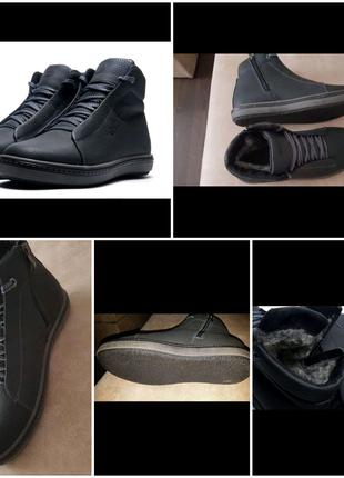 Зимние мужские ботинки ECCO 6 полуклассика кожа Black 40- 45