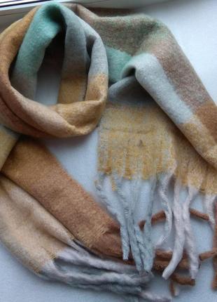 Новый крутой мягкий шарф 220 на 40 см, мятно-бежевый