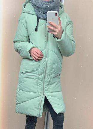 🌿 зимнее пальто • пуховик • куртка «одеяло» мятного цвета овер...