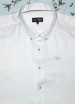 Белая рубашка из хлопка armani jeans, размер 52 - 54, большой ...