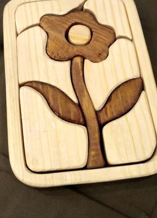 Детская игрушка пазл 3d цветок деревянная логика