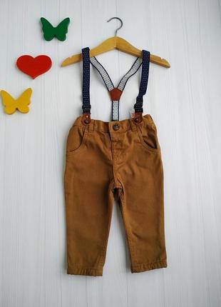 6-9 мес, брюки с подтяжками на подкладке,f&f