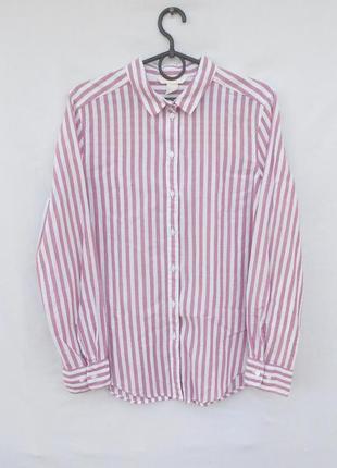 Летняя хлопковая рубашка в полоску с длинным рукавом