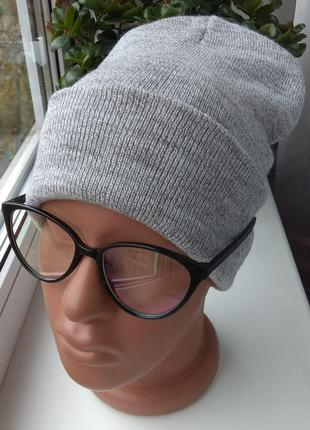 Новая модная базовая шапка бини двойная, светло-серая