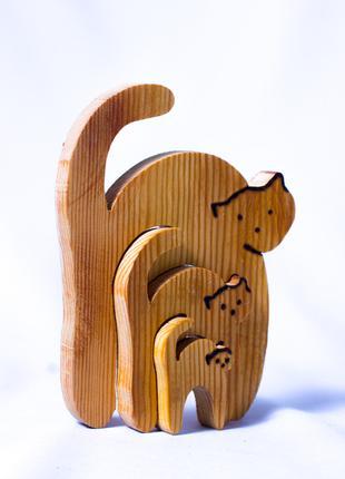 Детская игрушка пазл 3d кошечка деревянная логика