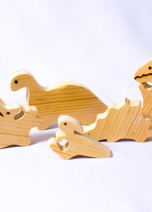 Детская игрушка пазл 3d динозавр динозаврики деревянная логик