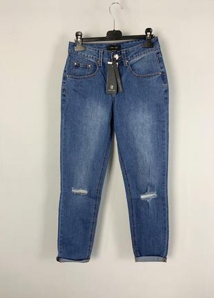 Качественные синие джинсы slim boyfriend с дырками на коленях ...