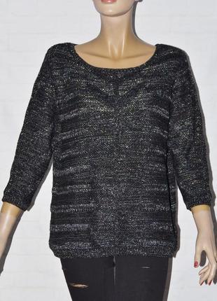 Черный женский джемпер кофта с люрексовой нитью