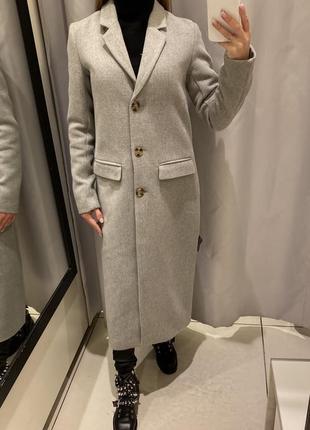 Серое пальто мужского кроя пальто с шерстью reserved есть размеры