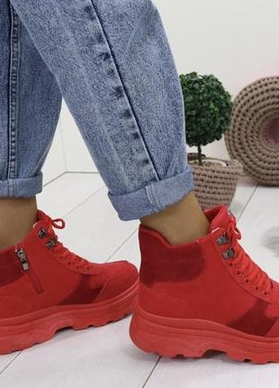 Новые женские зимние красные ботинки
