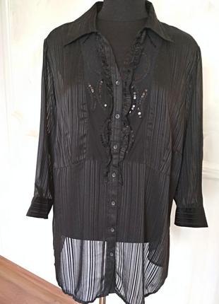 Нарядная шифоновая блуза, вышитая пайетками, размер 52-54-56.