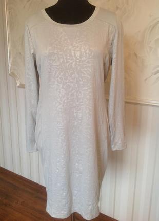 Светлое трикотажное платье, размер 50-52.
