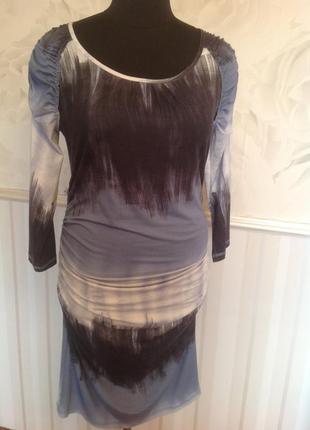 Трикотажное платье с драпировкой, размер 50.