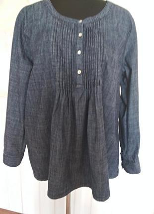 Красивая натуральная джинсовая рубашка, размер 50-52.