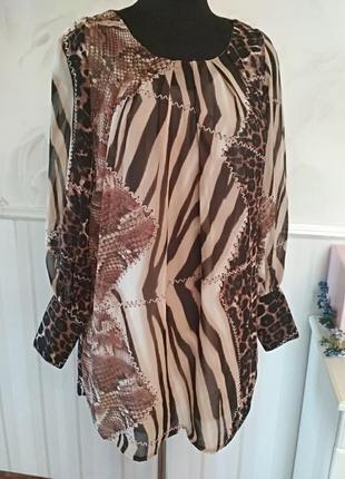 Шифоновое платье-туника на трикотажной подкладке, размер 48-50.