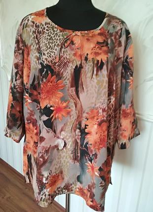 Красивая шелковая блуза, размер 24 uk, наш 54-56-58.
