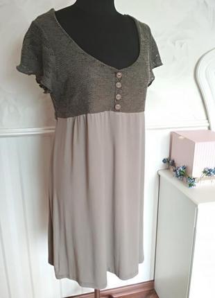 Комбинированное платье с вязанным верхом, размер 48-50.