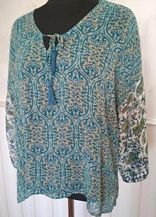 Красивая шифоновая блуза с вышивкой на рукавах, размер 50-52-54.