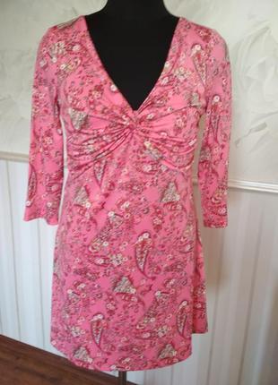 Симпатичное платье-туника из трикотажа-масло, размер 46-48.
