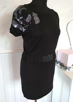 Красивое платье-туника из трикотажной вискозы с украшением, ра...