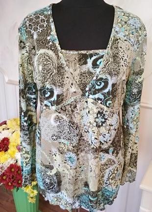 Красивая блуза туника из тонкого трикотажа, размер 52-54-56.