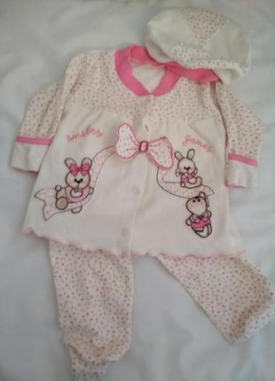 Нарядный костюм тройка с беретом. 3-6 месяцев.