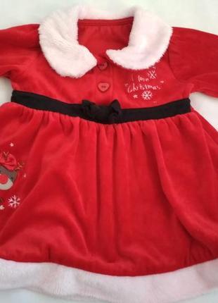 Новогоднее велюровое платье на 3-6 месяцев.