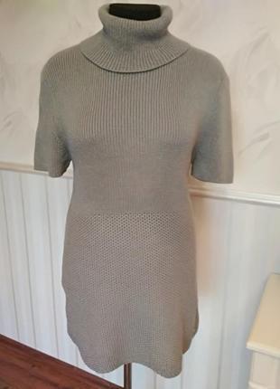 Натуральный свитер платье с хомутом, размер 48-50.