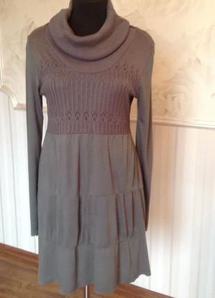 Платье-туника  с воланами из трикотажной вискозы, размер 18uk,...