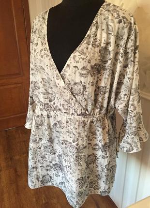 Легкая блуза-туника большого размера 5xl, наш 60-62.