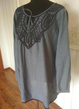Стильная туника - рубашка их натурального хлопка,  размер  52-54.