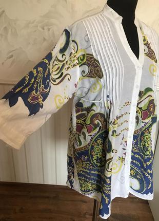 Красивая рубашка-туника с рисунком размер xl, наш 56.